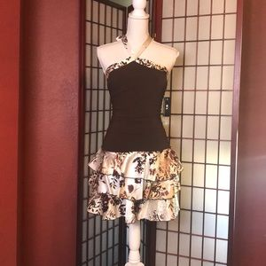 BCX NWT  Brown and Cream Halter Neck Party Dress